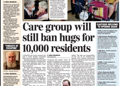 Care Group will still ban hugs for 10,000 residents – Giles Sheldrick – Daily Express