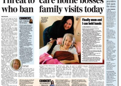 Threat to Care Home Bosses who ban Visits – Giles Sheldrick – Daily Express