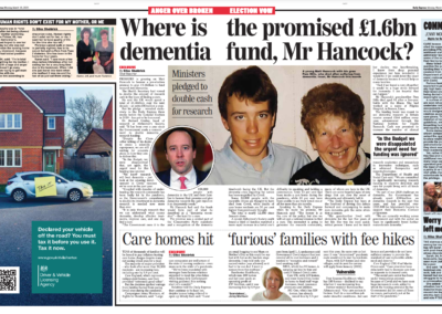 Outrage at Care Home price increases – Daily Express – Giles Sheldrick