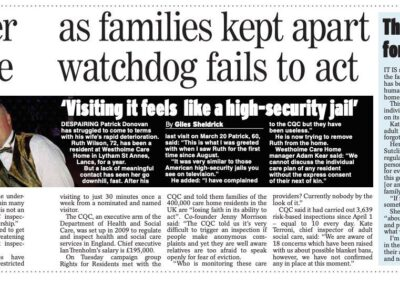 CQC lack of action on blanket visiting policies exposed in the Daily Express – Giles Sheldrick