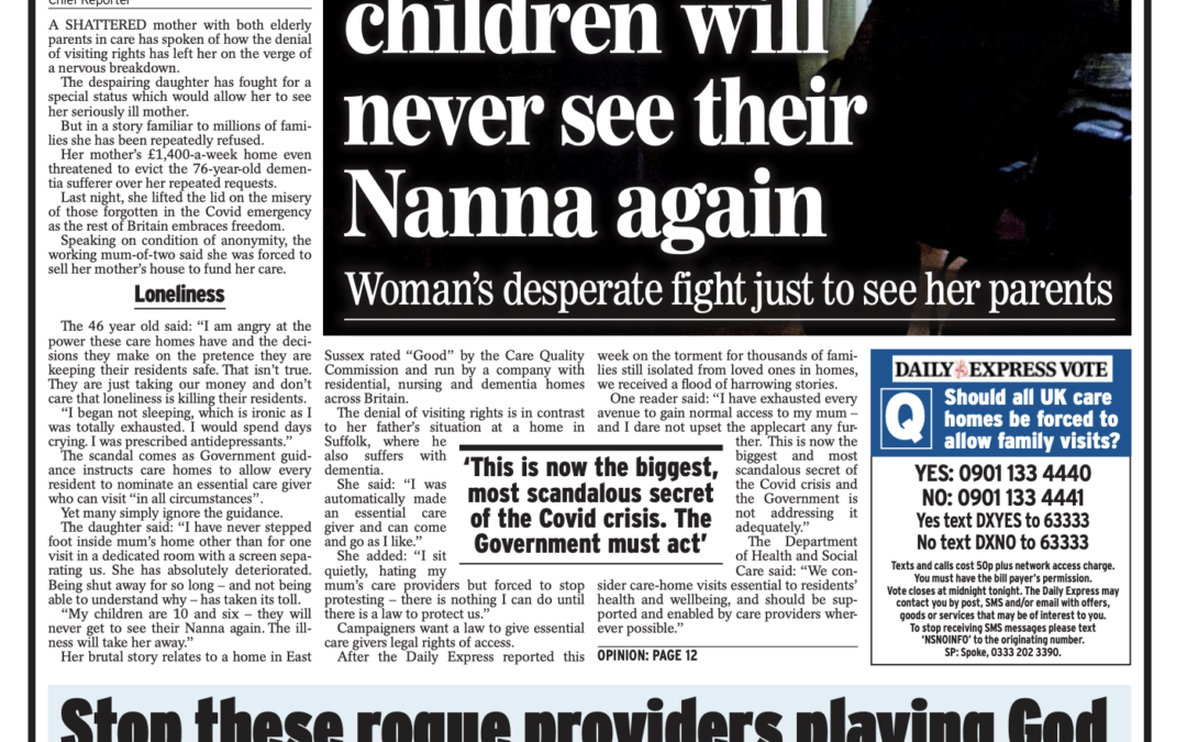 I'm helpless, scared, angry and sad…. my children will never see their Nanna again.  – Giles Sheldrick  – Daily Express.   Comment by Jenny Morrison RFR