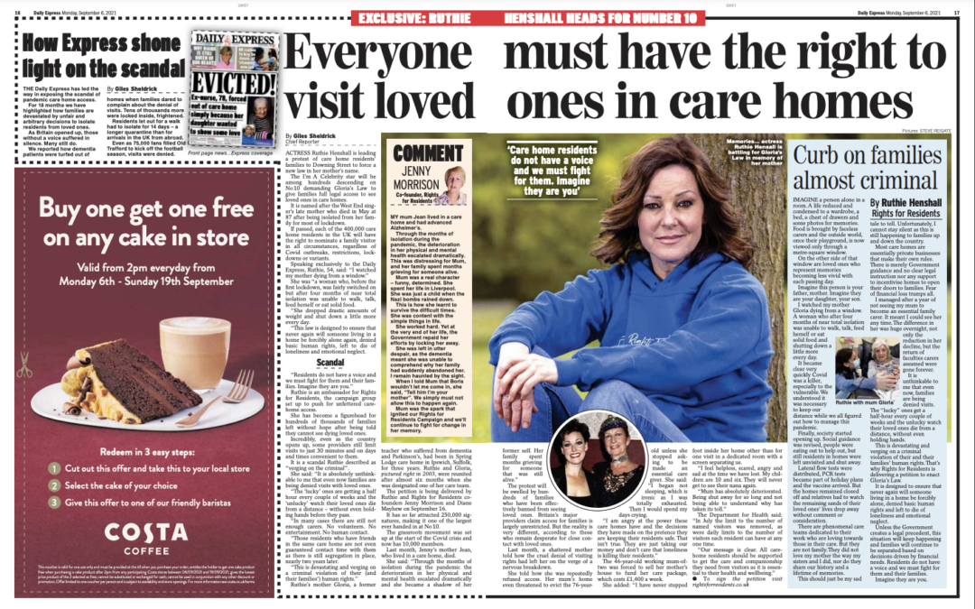 Everyone MUST have the right to visit loved ones in care homes – Daily Express – Giles Sheldrick